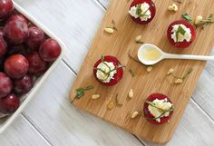 Goat cheese & honey stuffed plums
