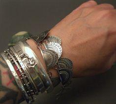 stacked bracelets, jewelleri, stack sterl, turkish vintag, vintage jewellery, silver bracelets, sterling silver, vintag turkish, jewelri