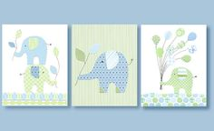 Elephant Nursery, Complements Pottery Barn Eli Elephant Bedding, Blue and Green Nursery, 8 x 10