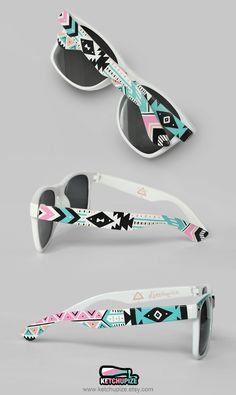 Sunglasses - Aztec print Tribal trend fashion sunglasses unique hand painted - pastel pink teal natural black. €37.00, via Etsy.