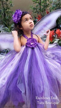 Purple Mariposa Tutu Dress  by whererainbowsend1