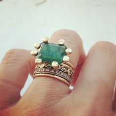 custom JPJ ring with customer's emerald   www.janepopejewelry.com