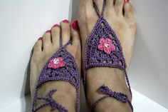 Purple Barefood Sandals by SouthpawCrochet on Etsy, $12.00