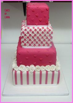Hot Pink  White Wedding Cake - by Lorna @ CakesDecor.com - cake decorating website