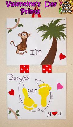 banana, handprint valentine crafts, footprint crafts, hand prints, hand print crafts