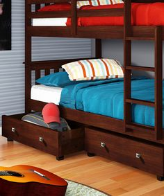 The Perfect Bunk-Beds for a Boy's Room with Under-Bed Drawers. boy room