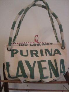 vintage chicken feed sack purse  PURINA LAYENA   by ginnymae, $70.00