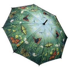 Hautman Brothers Art Print Walking Length Umbrella - Butterflies; Price: £25.00