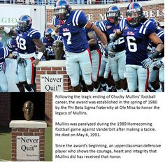 Ole Miss - University of Mississippi Rebels - Never Quit - bust of Chucky Mullins
