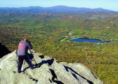 Panoramic mountain views from the top of Grandfather Mountain in the North Carolina mountains