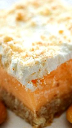 Orange Sherbet Dessert Recipe ~ This dessert is so delicious... It is light, refreshing and super easy to make. Plus, you don't have to turn on your oven!