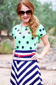 Thick Polka Dots and Stripes - 25 Ways to Mix Patterns and Prints