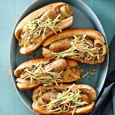 No need for a grill here! These brats are slow-cooked: http://www.bhg.com/recipes/slow-cooker/summer-slow-cooker-recipes/?socsrc=bhgpin080314chickenbratwurst&page=1