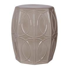 Treillage garden stool gray glaze.