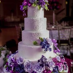 shades of purple, cake idea, purple flowers, purpl flower, pretti shade, cake purpl, wedding cakes