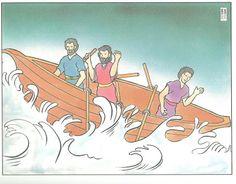 Mooie platen bij de storm op het meer /  Bible visuals for preschool
