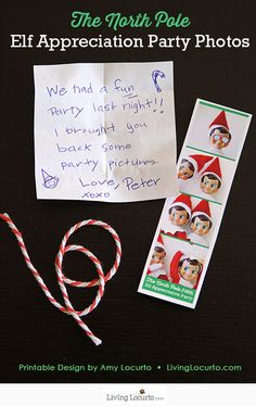 Cute DIY printable idea for an Elf on the Shelf! Surprise your kids with mini photo booth party pictures from The North Pole.