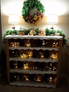 way to display village Sew Many Ways...: Christmas Decorating Around the House