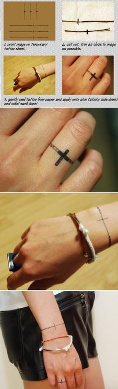DIY Temporary Jewelry Tattoo but I like the idea of a cross ring tattoo or the bracelet as a permanent one.