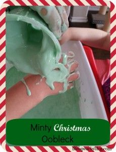 Minty Christmas Oobleck with cornstarch and water | Life is Peachy