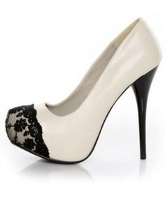 White and black lace heels