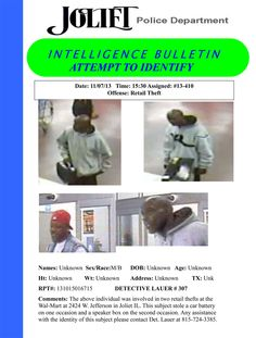 The pictured individual was involved in two retail thefts at the Wal-Mart at 2424 W. Jefferson in Joliet IL. This subject stole a car battery on one occasion and a speaker box on the second occasion. Any assistance with the identity of this subject please contact Det. Lauer at 815-724-3385.