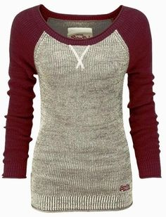 Red & Gray Baseball Sleeves Sweater | Fashionista Tribe