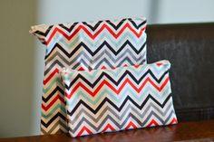 Reusable Snack Bags Chevron Red Gray Blue