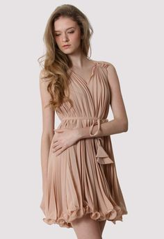 Peach Pleated Dress with Belt #Chicwish