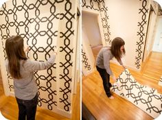 YES! Using starched fabric for walls instead of wallpaper! Now I can decorate my walls in my no-paint-allowed apartment <3