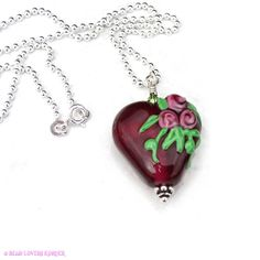 Red Heart with Roses Pendant Necklace by beadloverskorner on Etsy, $45.00
