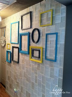 gallery wall with empty frames