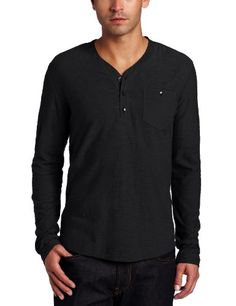 Kenneth Cole Men's Slub Henley Shirt With Woven « Clothing Impulse