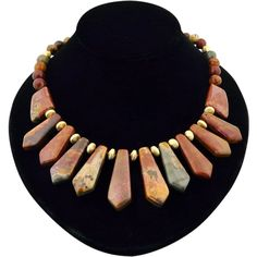 Artisan Handmade Natural Picture Jasper and Vermeil Graduated Collar Necklace from Malibu Jewelry Arts on Ruby Lane