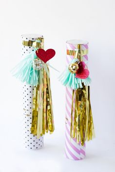 DIY these Confetti Cannons for the perfect Valentine's Day party favors. All you need is Martha Stewart Crafts Glitter, a few household objects, and instructions from Studio DIY! #marthastewartcrafts #12monthsofmartha