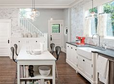White kitchen, black counters.