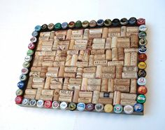 Wine cork & beer cap bulletin board - for the wine geek and beer lover in your life