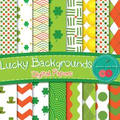 St Patrick's Digital Papers - Cute Backgrounds for your St