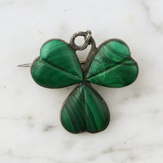Good luck charms: Victorian Scottish Malachite Clover Pendant / Sterling Silver