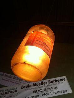 Pickle jar light fixture at Louie Mueller BBQ in Taylor, TX (via Joe Norris)