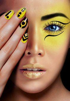 yellow makeup #makeup #lips #eyes #face #nails