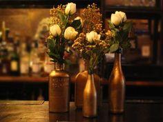 DIY gold glass bottles