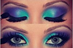 Gorgeous Make-up...but I'd think it'd look even nice if the colors were a darker shade, like a darker shade of purple and darker shade of Turquoise or Blue.