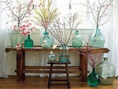 spring branches #flowers #aqua #light #decor