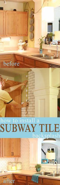 how to install a white subway tile backsplash  #subway_tile #white_tile #backsplash