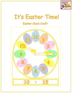 It's Easter Time! Celebrate Easter Time by making Easter Clocks. These clocks have eggs and chicks. Hour strips ranging from 1 to 12 and minute strips ranging from 00 to 59 are included for analog to digital matching.