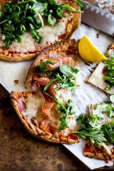 Whole Wheat Tortilla Pizzas with Arugula and Prosciutto