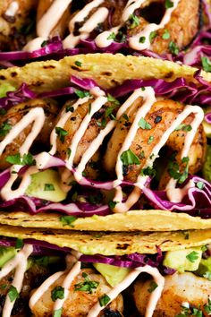 Honey Lime Tequila Shrimp Tacos with Avocado, Purple Slaw and Chipotle Crema;  Made these last night, and they were delicious!  I'd use fish instead but delish!