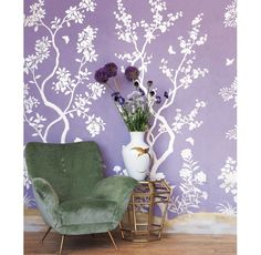 Floral purple wallpapered room