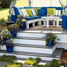 This outdoor space is decorated with low-maintenance (and drought-tolerant) plants. More ideas: www.bhg.com/home-improvement/porch/outdoor-rooms/budget-friendly-outdoor-room/?socsrc=bhgpin062312#page=1